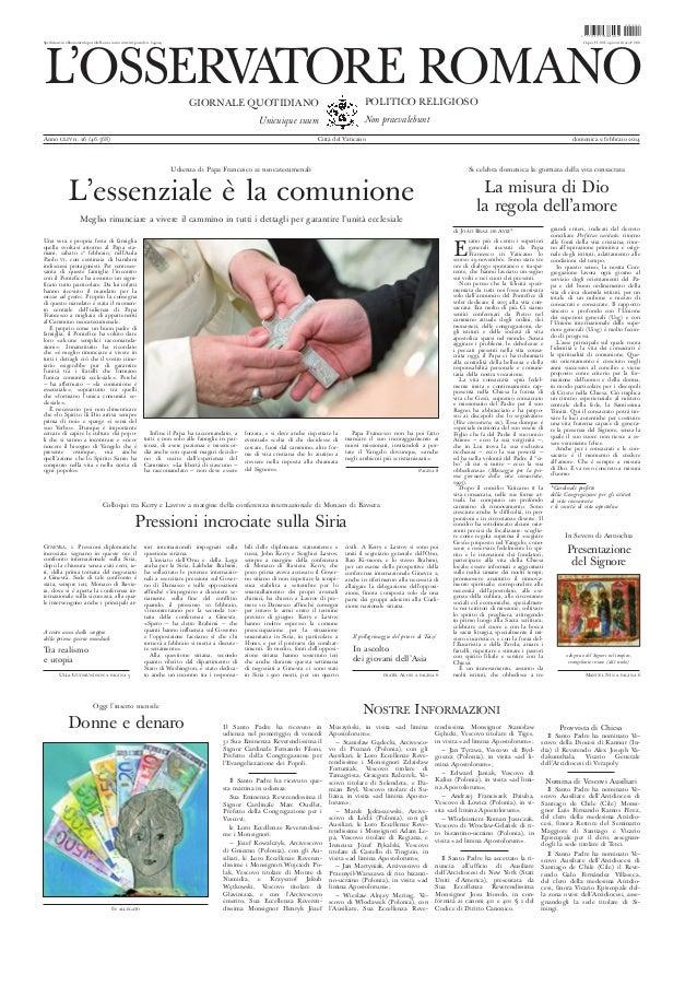 L'osservatore romano (02.Fev.2014)