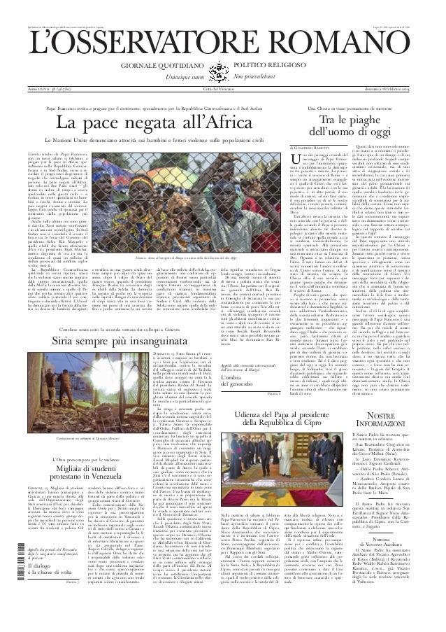 L'osservatore romano (16.fev.2014)