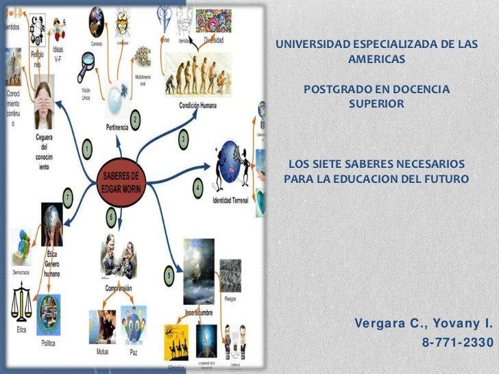 UNIVERSIDAD ESPECIALIZADA DE LAS           AMERICAS    POSTGRADO EN DOCENCIA          SUPERIOR  LOS SIETE SABERES NECESARI...