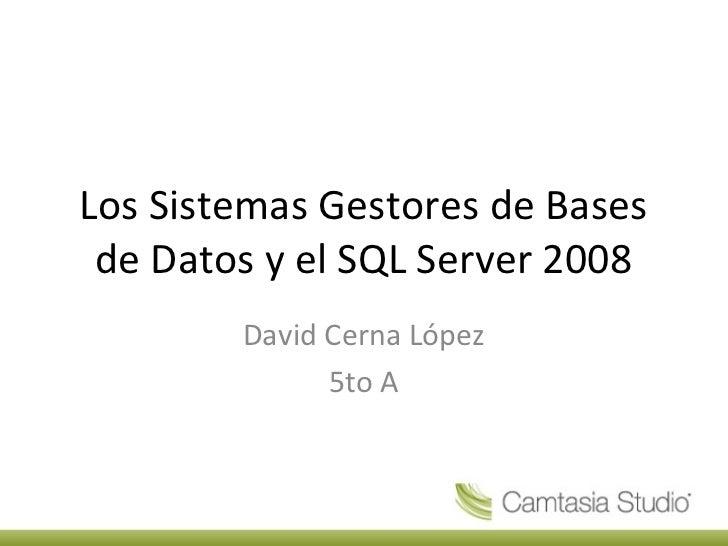 Los Sistemas Gestores de Bases de Datos y el SQL Server 2008        David Cerna López              5to A