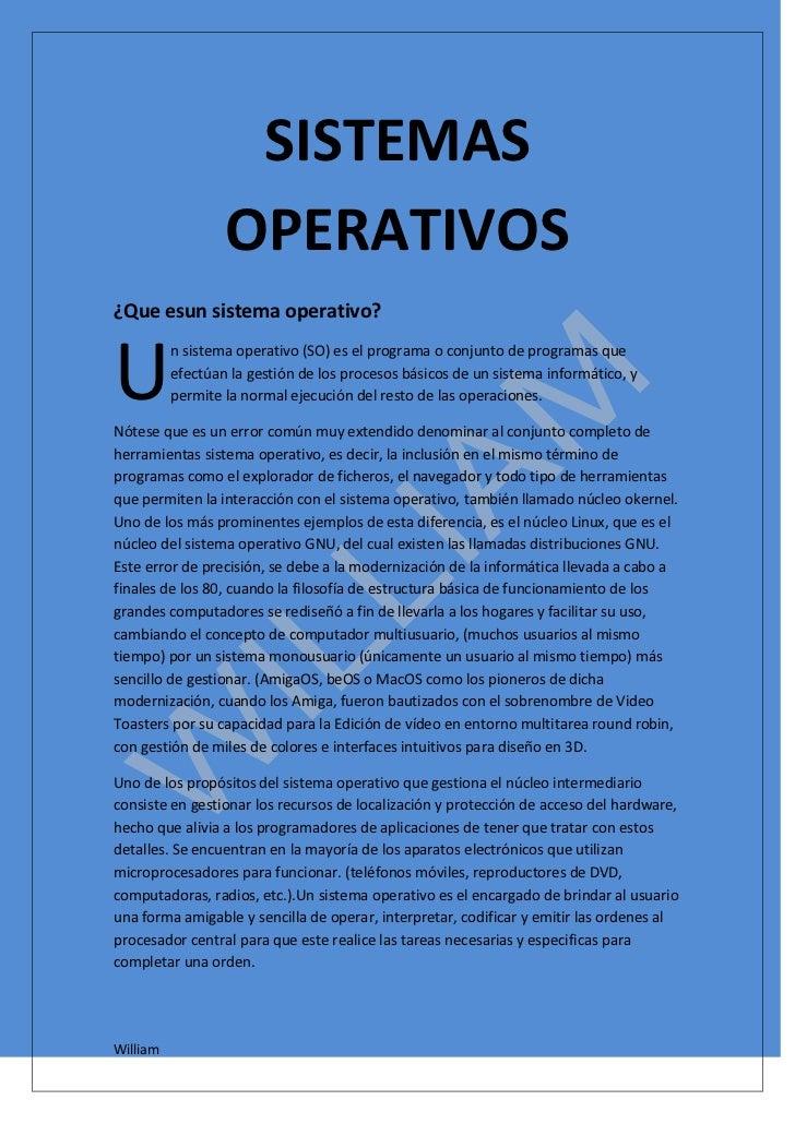 00SISTEMAS OPERATIVOSSISTEMAS OPERATIVOS¿Que es un sistema operativo?<br />U<br />n sistema operativo (SO) es el programa ...