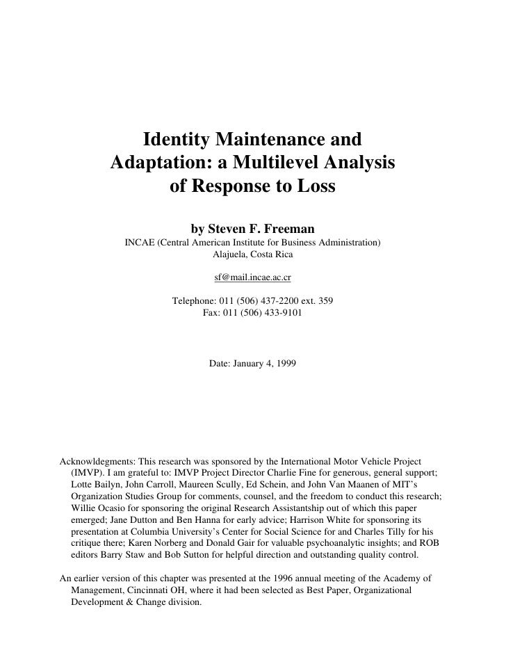 Identity Maintenance and             Adaptation: a Multilevel Analysis                   of Response to Loss              ...