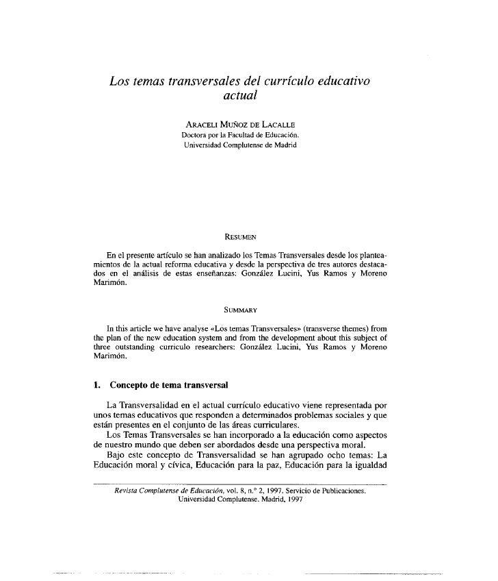 Los temas transversales del currículo educativo                         actual                             ARACELI MUÑOZ D...