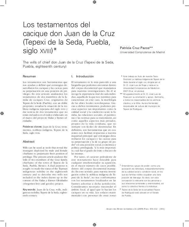 Anales del Museo de América 16 (2009) Pags. 101-112 [101] Resumen Los testamentos son herramientas que nos ayudan a defin...