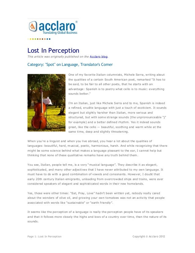 """Lost In PerceptionThis article was originally published on the Acclaro blog.Category: """"Spot"""" on Language, Translators Corn..."""