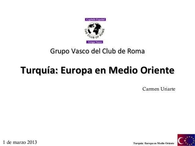 Grupo Vasco del Club de Roma       Turquía: Europa en Medio Oriente                                                 Carmen...