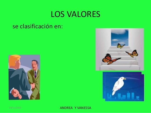 LOS VALORES se clasificación en:  19/11/2013  ANDREA Y VANESSA