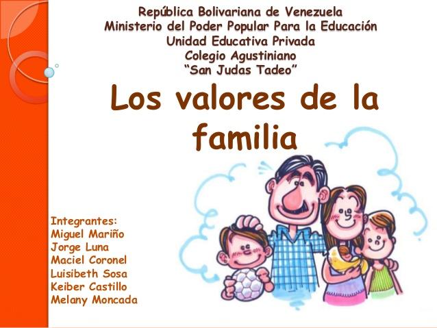 Los valores de la familia for Concepto de la familia para ninos