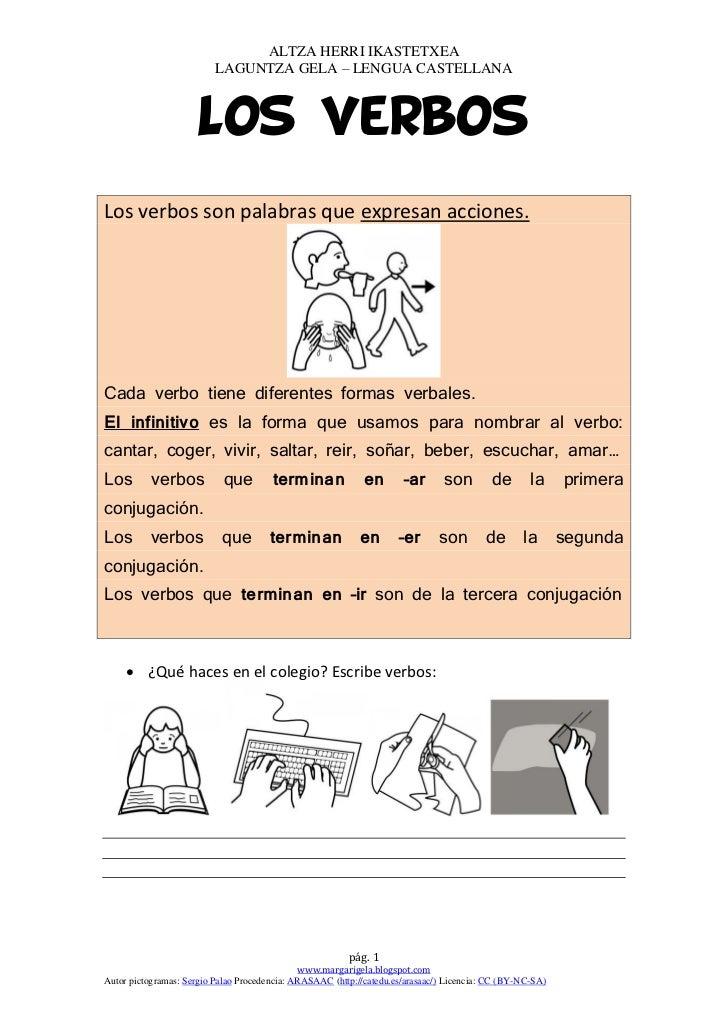 ALTZA HERRI IKASTETXEA                          LAGUNTZA GELA – LENGUA CASTELLANA                      Los verbosLos verbo...