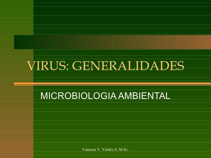 VIRUS: GENERALIDADES MICROBIOLOGIA AMBIENTAL Vanessa V. Valdés S. M.Sc.