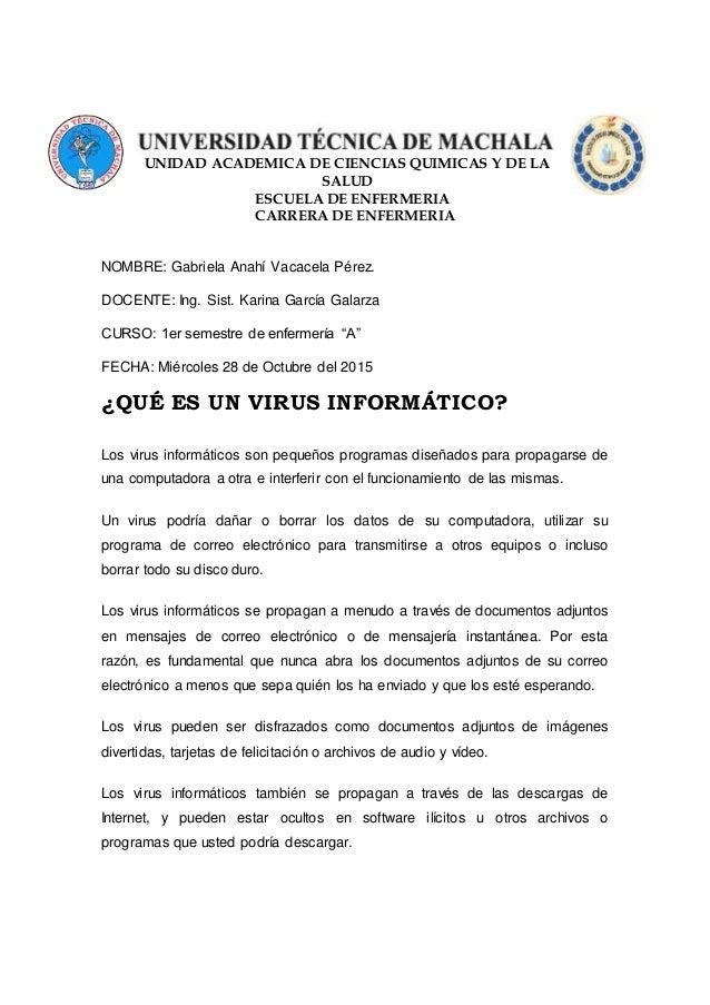 """NOMBRE: Gabriela Anahí Vacacela Pérez. DOCENTE: Ing. Sist. Karina García Galarza CURSO: 1er semestre de enfermería """"A"""" FEC..."""