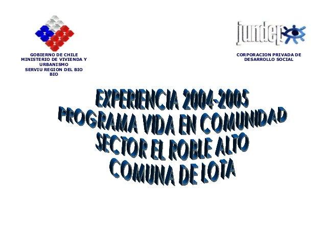EXPERIENCIA 2004-2005 PROGRAMA VIDA EN COMUNIDAD SECTOR EL ROBLE ALTO COMUNA DE LOTA