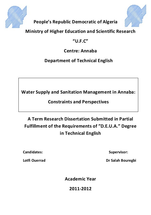 Water Supply and Sanitation Management in Annaba:  Constraints and Perspectives