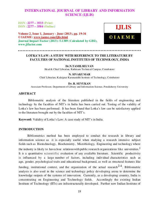Lotka's law a study with reference to the literature by