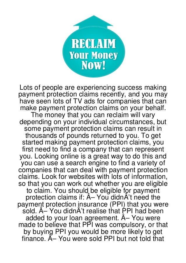 Lots of people are experiencing success makingpayment protection claims recently, and you mayhave seen lots of TV ads for ...