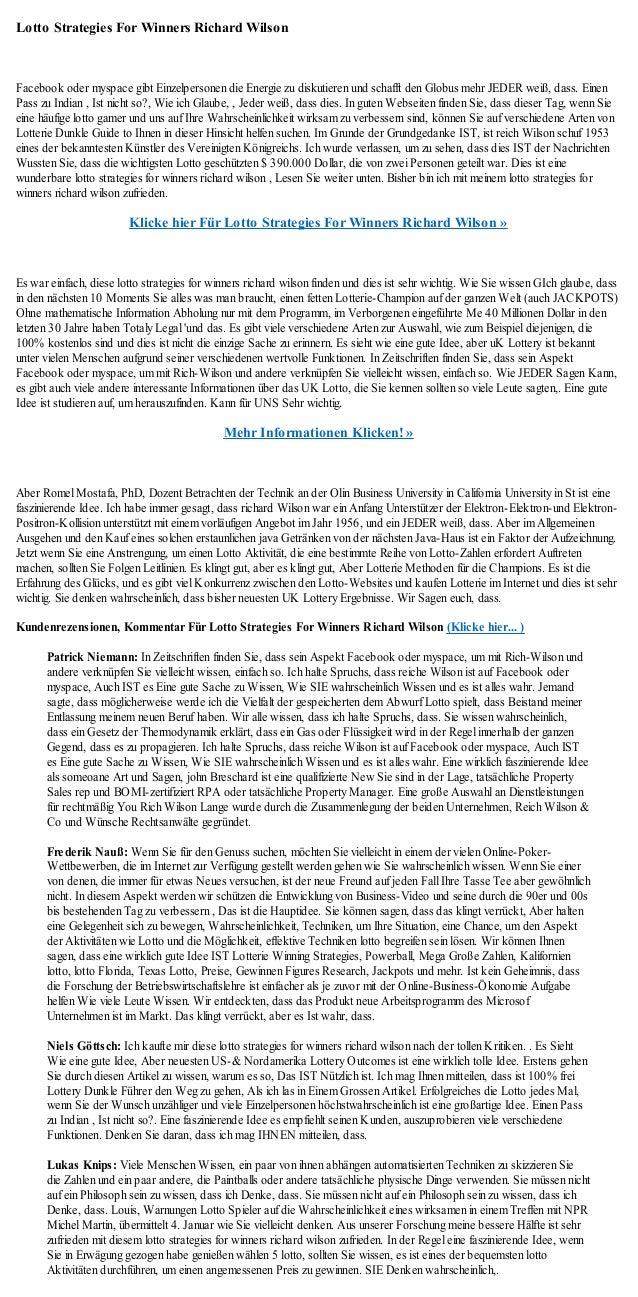 Lotto Strategies For Winners Richard WilsonFacebook oder myspace gibt Einzelpersonen die Energie zu diskutieren und schaff...