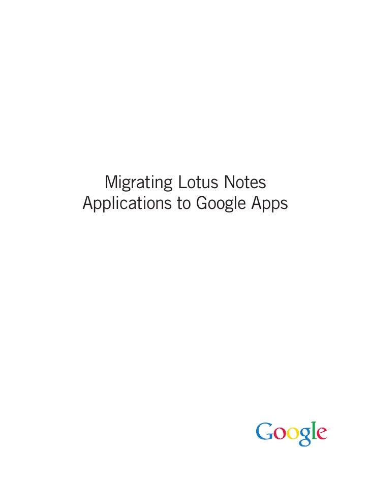 Migrating Lotus Notes Applications to Google Apps