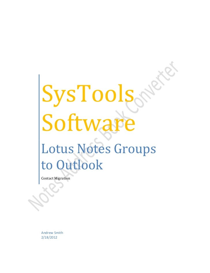 Lotus Notes Groups to Outlook