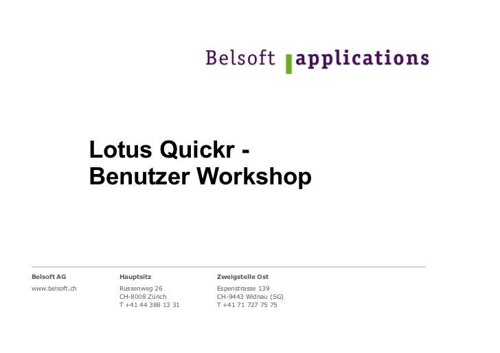 Lotus Quickr -  Benutzer Workshop
