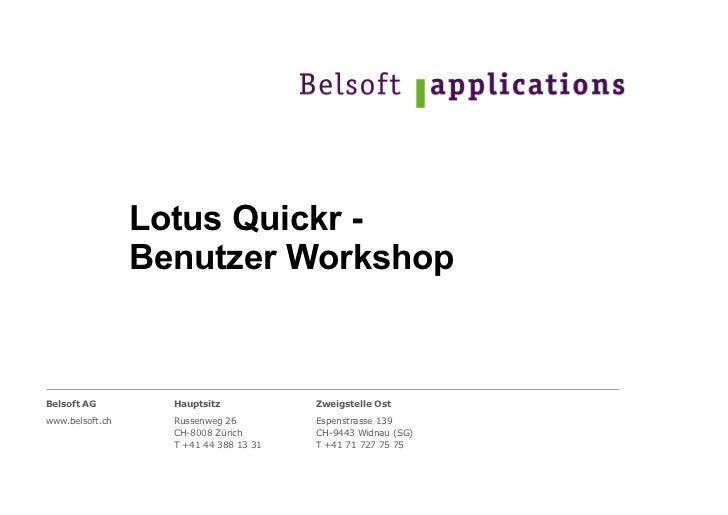 IBM Lotus Quickr 8.5 - Benutzer Workshop