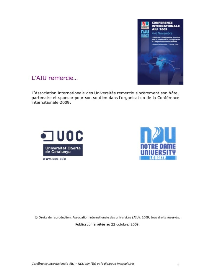 L'AIU remercie…L'Association internationale des Universités remercie sincèrement son hôte,partenaire et sponsor pour son s...