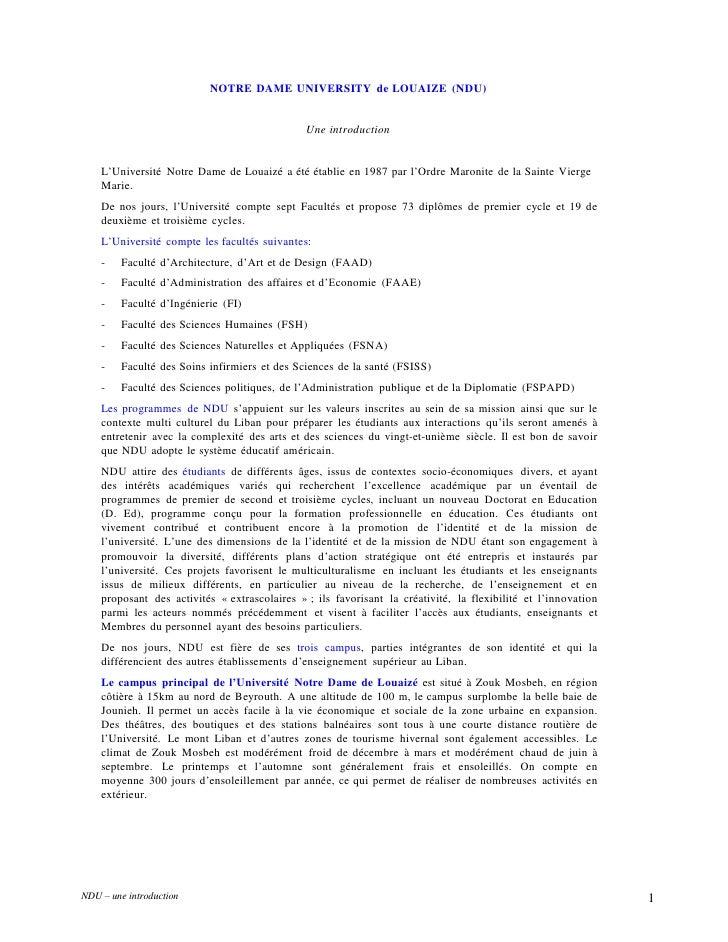 NOTRE DAME UNIVERSITY de LOUAIZE (NDU)<br />Une introduction<br />L'Université Notre Dame de Louaizé a été établie en 1987...