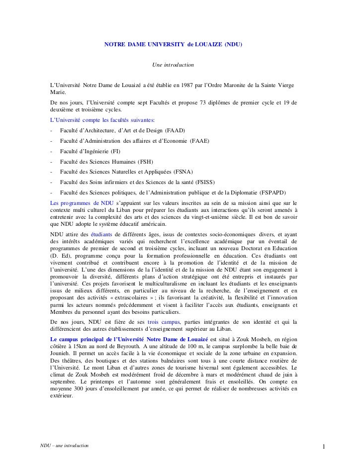 NOTRE DAME UNIVERSITY de LOUAIZE (NDU)                                               Une introduction    L'Université Notr...