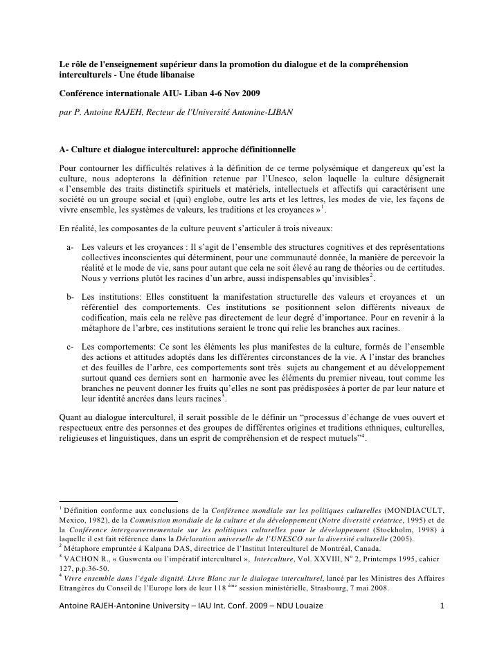 Le rôle de lenseignement supérieur dans la promotion du dialogue et de la compréhensioninterculturels - Une étude libanais...
