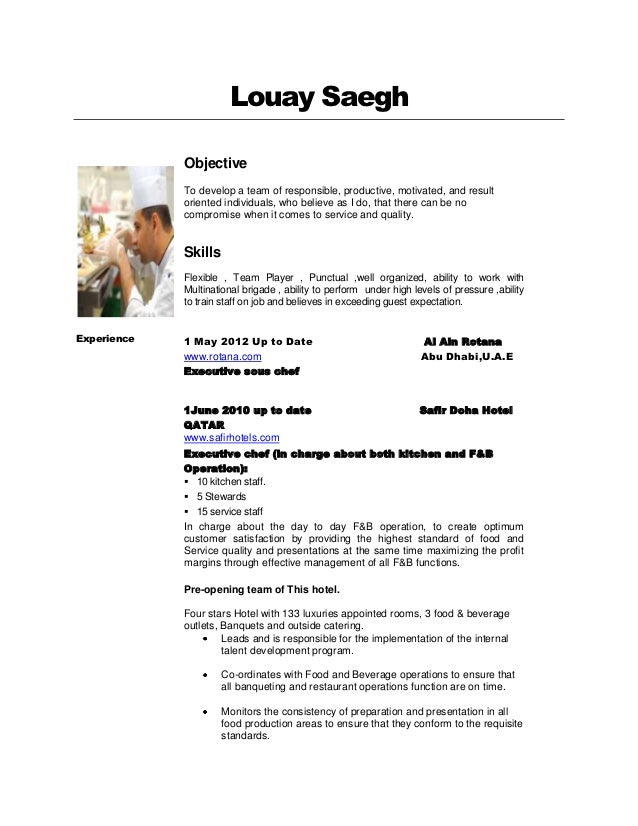 Chef Resume Objective Sample Volumetrics Co Sous Chef Resume Brefash