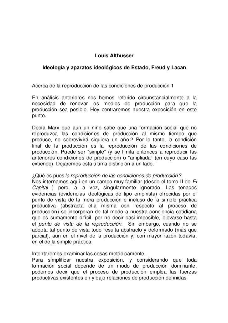 Louis Althusser    Ideología y aparatos ideológicos de Estado, Freud y LacanAcerca de la reproducción de las condiciones d...
