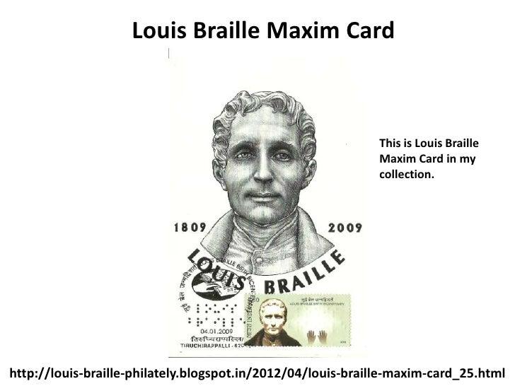 Louis Braille Maxim Card                                                             This is Louis Braille                ...
