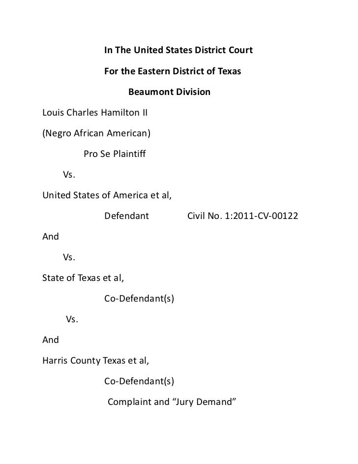 Louis charles hamilton ii. vs america et al and state of texas et al.......