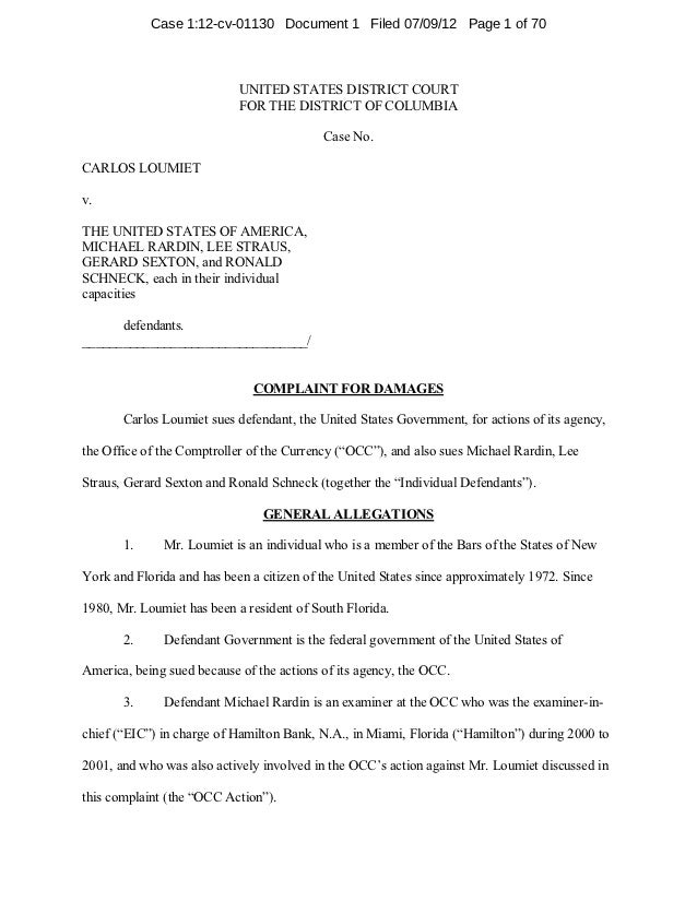 Case 1:12-cv-01130 Document 1 Filed 07/09/12 Page 1 of 70                            UNITED STATES DISTRICT COURT         ...