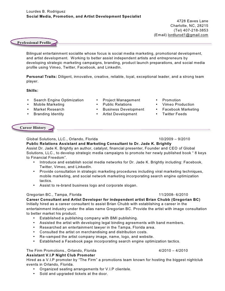 Event promoter resume