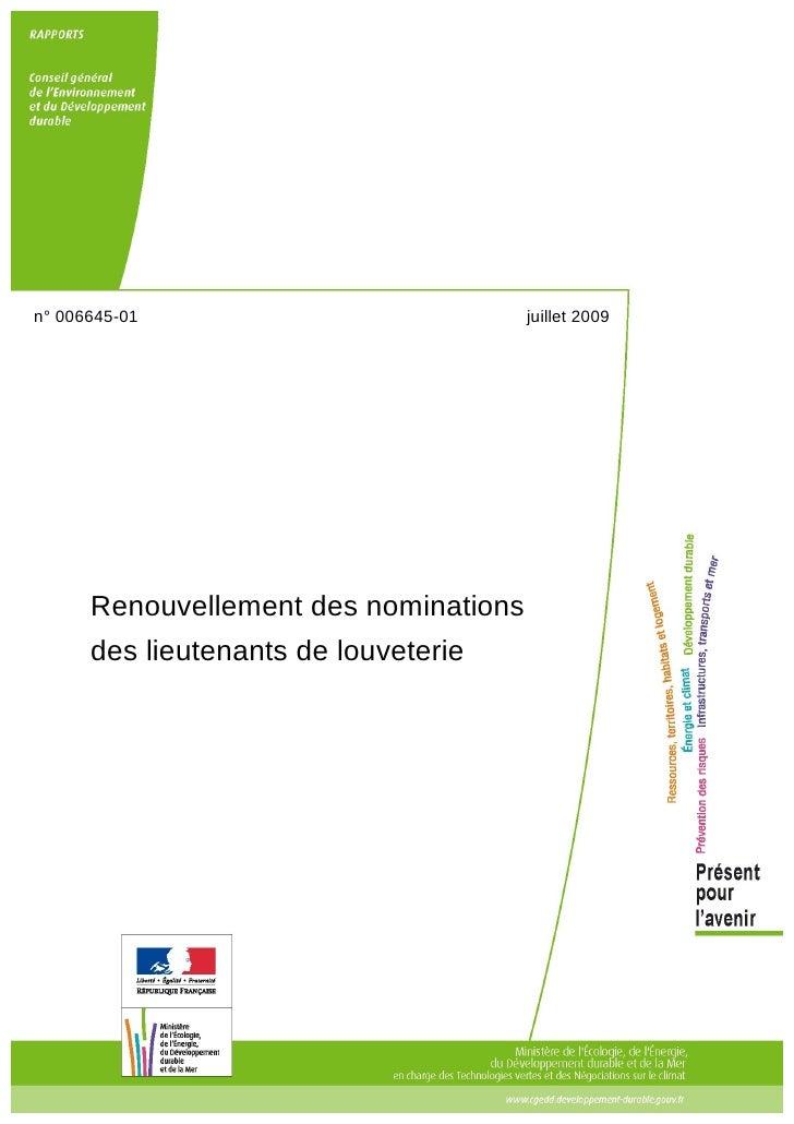n° 006645-01                           juillet 2009           Renouvellement des nominations       des lieutenants de louv...