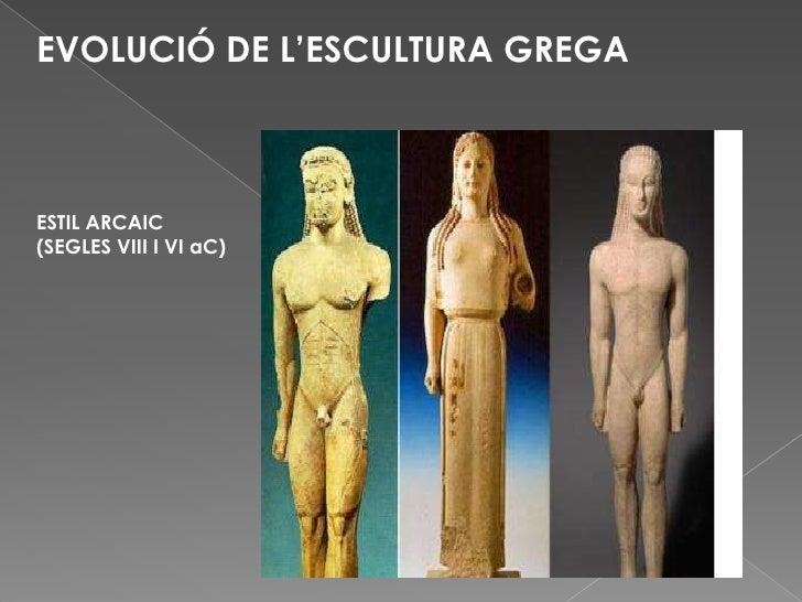 EVOLUCIÓ DE L'ESCULTURA GREGA<br />ESTIL ARCAIC (SEGLES VIII I VI aC)<br />
