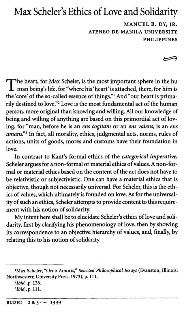 Scheler's Phenomenology of Love by Manuel Dy