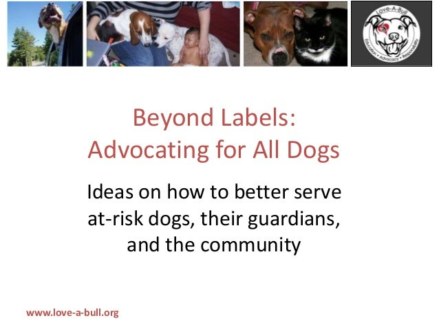 www.love-a-bull.org Beyond Labels: Advocating for All Dogs Ideas on how to better serve at-risk dogs, their guardians, and...