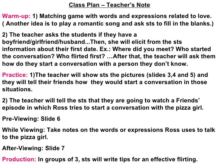 Class Plan – Teacher's Note Warm-up:  1) Matching game with words and expressions related to love.( Another idea is to pla...