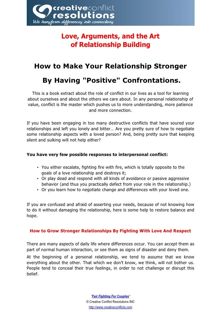Love, Arguments, and the Art                    of Relationship Building      How to Make Your Relationship Stronger      ...