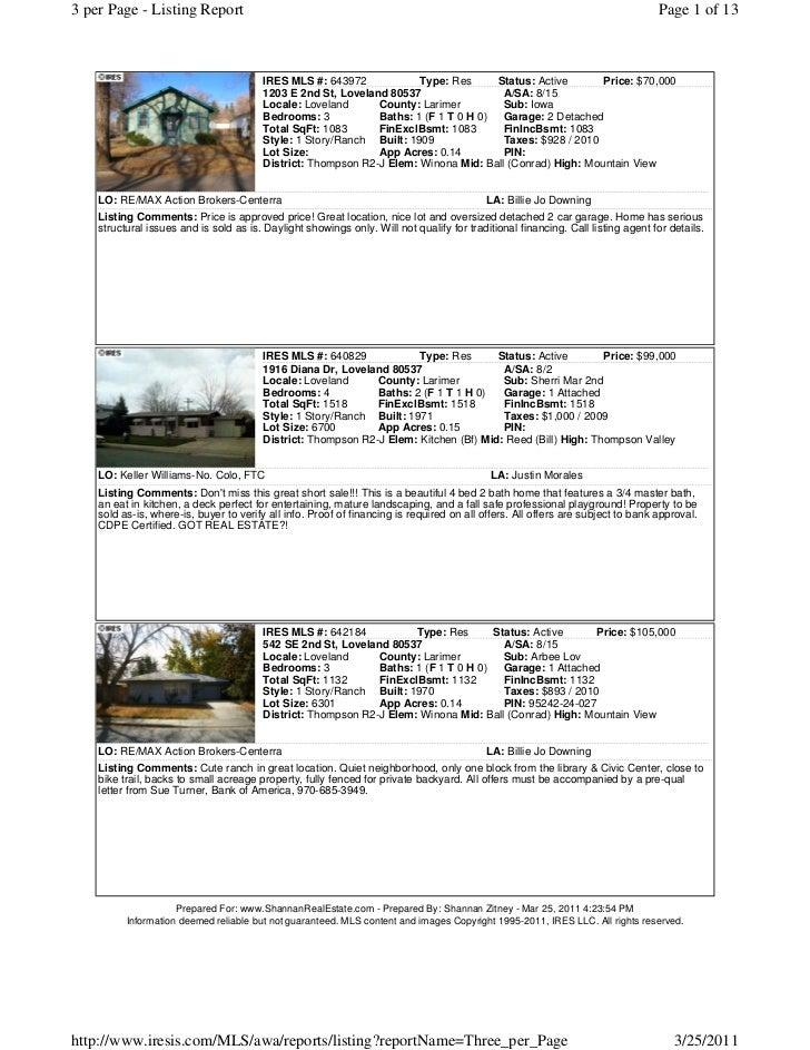 Loveland Berthoud Area Short Sale List march 25