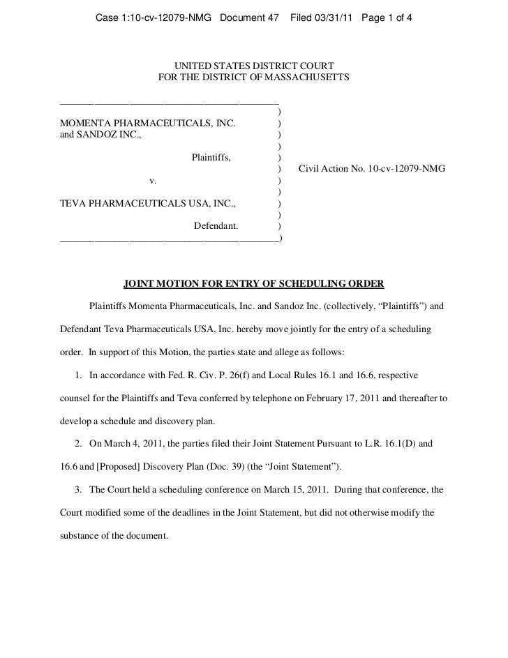 Lovenox trial scheduling
