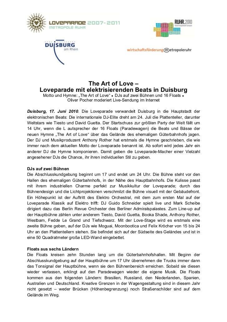 """The Art of Love –      Loveparade mit elektrisierenden Beats in Duisburg        Motto und Hymne: """"The Art of Love"""" DJs auf..."""