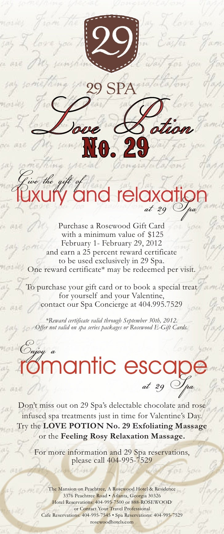 Love Potion                         No. 29Give the gift ofluxury and relaxation              at 29 Spa           Purchase ...