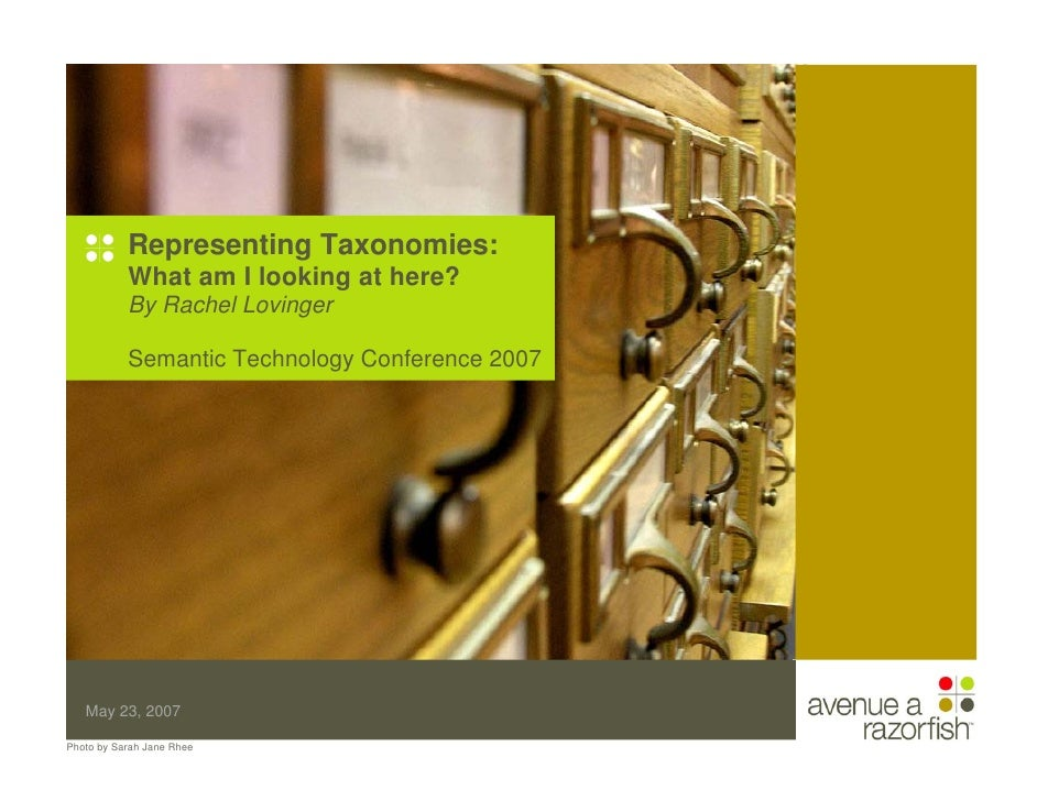 Representing Taxonomies:            What am I looking at here?            By Rachel Lovinger             Semantic Technolo...