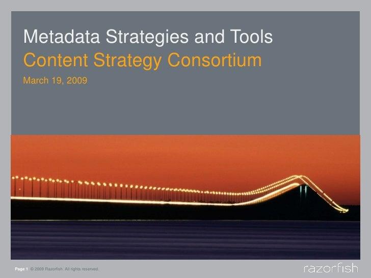 Metadata Strategies And Tools