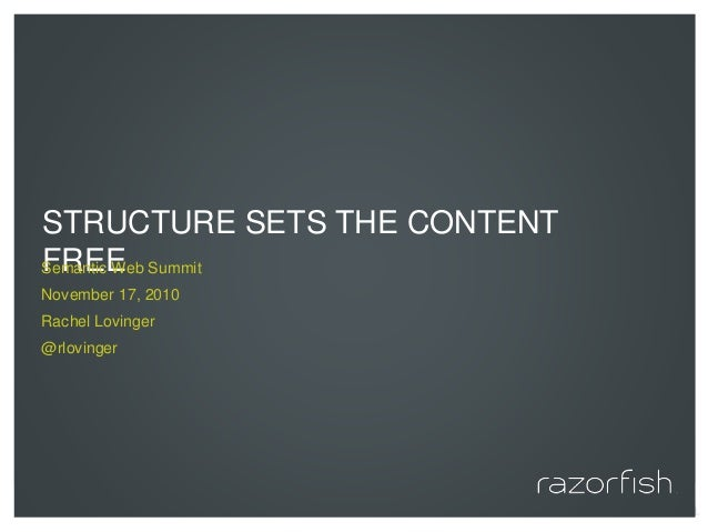 © 2010 Razorfish. All rights reserved. STRUCTURE SETS THE CONTENT FREESemantic Web Summit November 17, 2010 Rachel Lovinge...