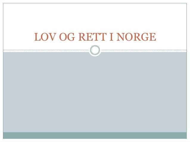 Lov og rett i Norge