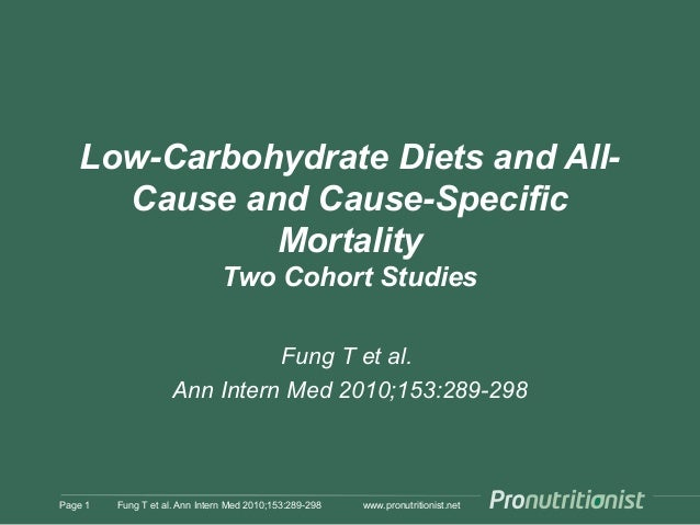 www.pronutritionist.net Low-Carbohydrate Diets and All- Cause and Cause-Specific Mortality Two Cohort Studies Fung T et al...