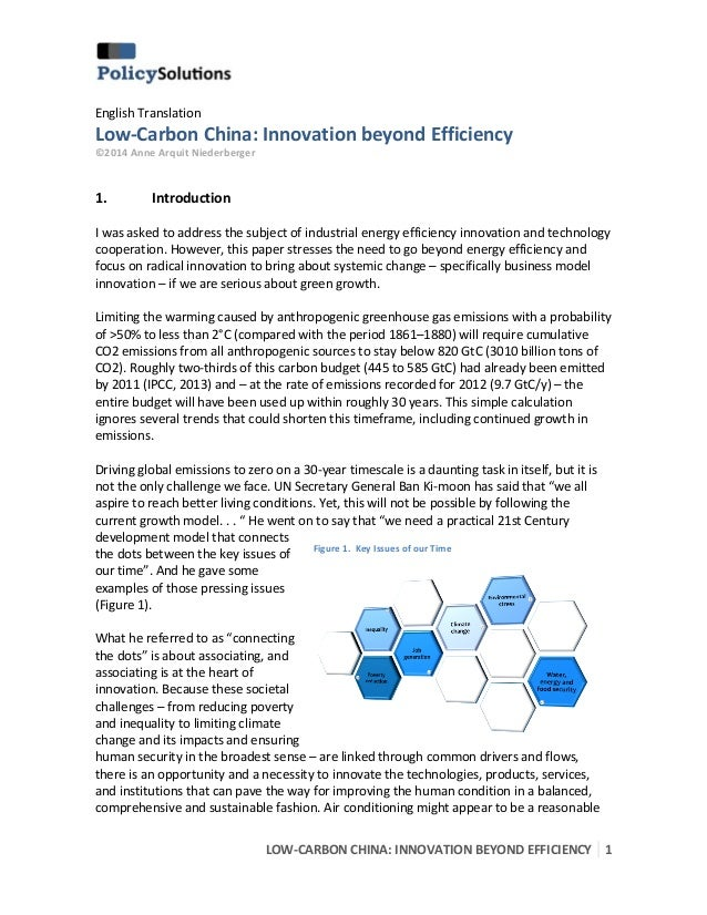 Low Carbon China - Innovation Beyond Efficiency
